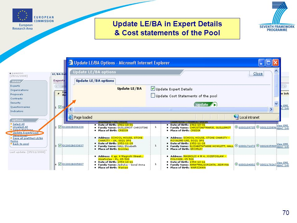 Update LE/BA in Expert Details & Cost statements of the Pool