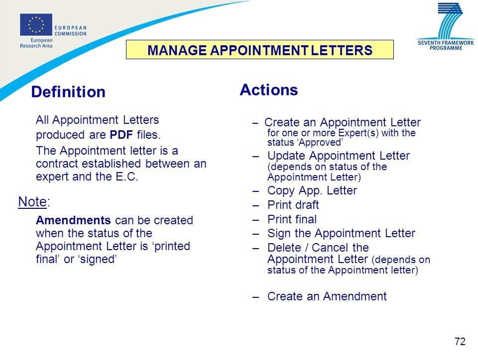 MANAGE APPOINTMENT LETTERS