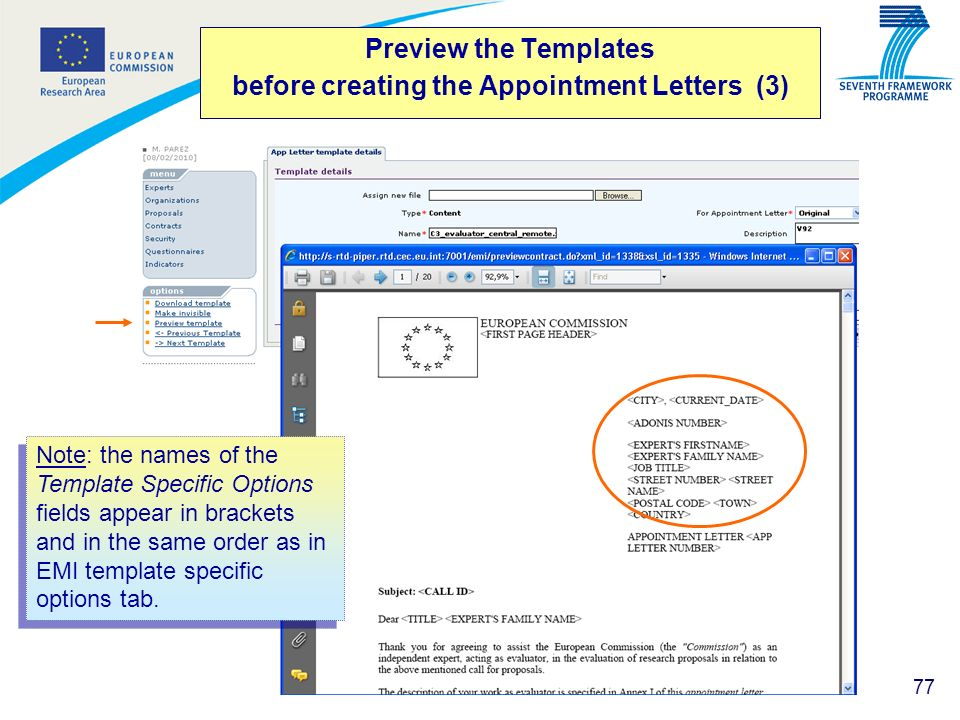 Preview the Templates before creating the Appointment Letters (3)