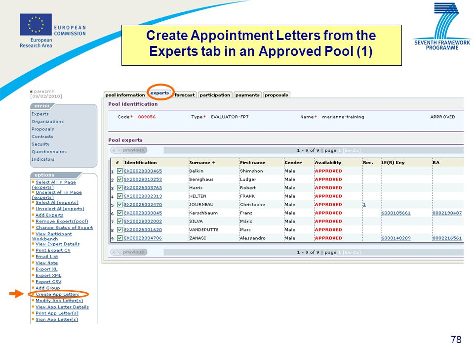 Create Appointment Letters from the Experts tab in an Approved Pool (1)