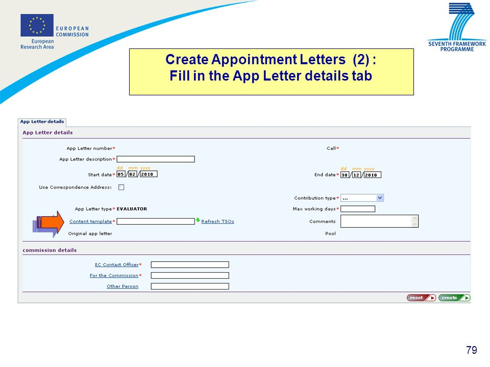 Create Appointment Letters (2) : Fill in the App Letter details tab