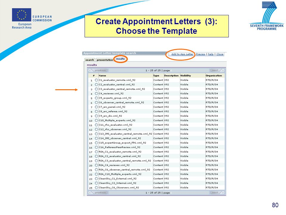 Create Appointment Letters (3): Choose the Template