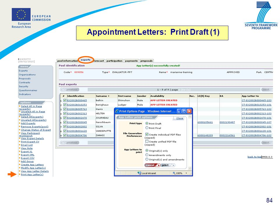 Appointment Letters: Print Draft (1)