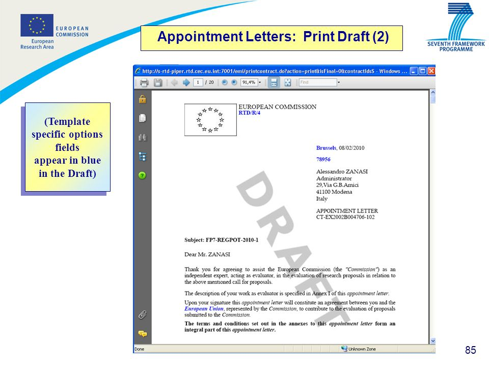 Appointment Letters: Print Draft (2)