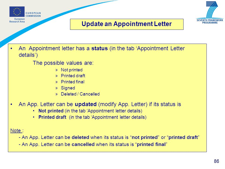 Update an Appointment Letter