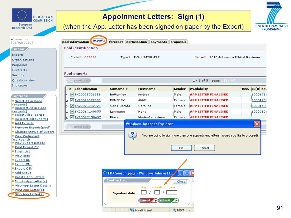 Appoinment Letters: Sign (1) (when the App