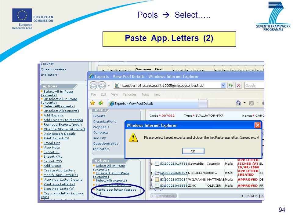 Pools  Select….. Paste App. Letters (2)