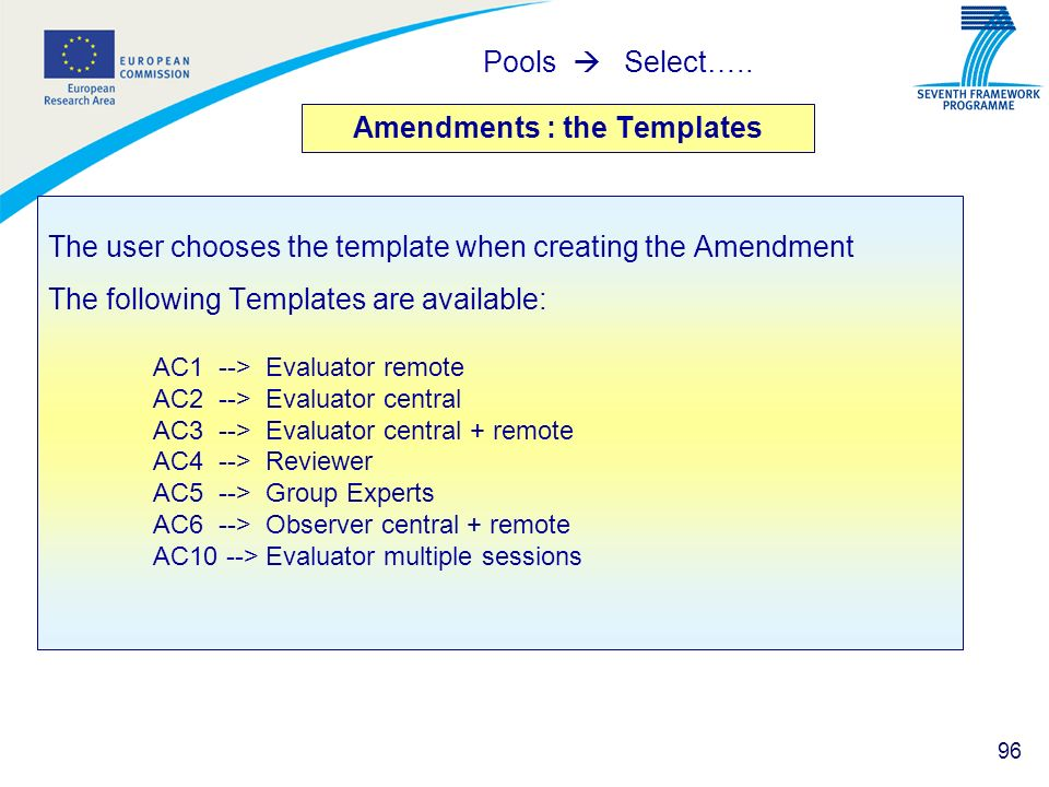 Amendments : the Templates
