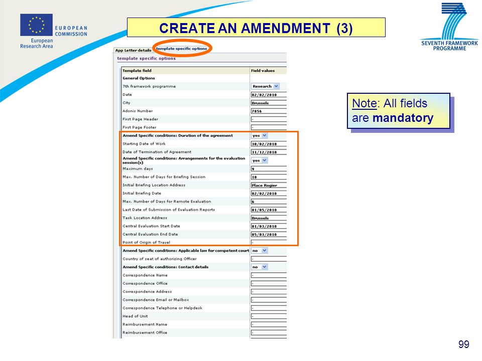 CREATE AN AMENDMENT (3) Note: All fields are mandatory
