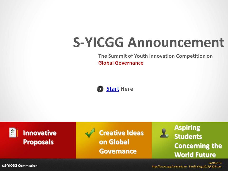 S-YICGG Announcement Aspiring Students Concerning the World Future