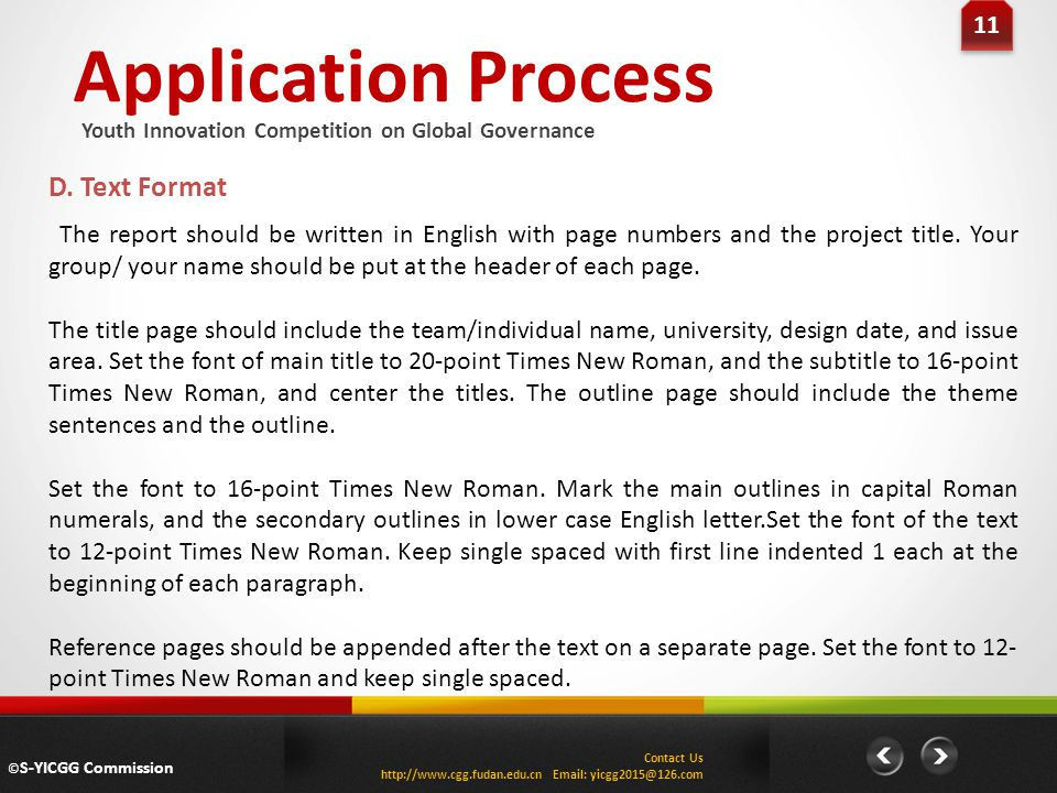 Application Process D. Text Format 11