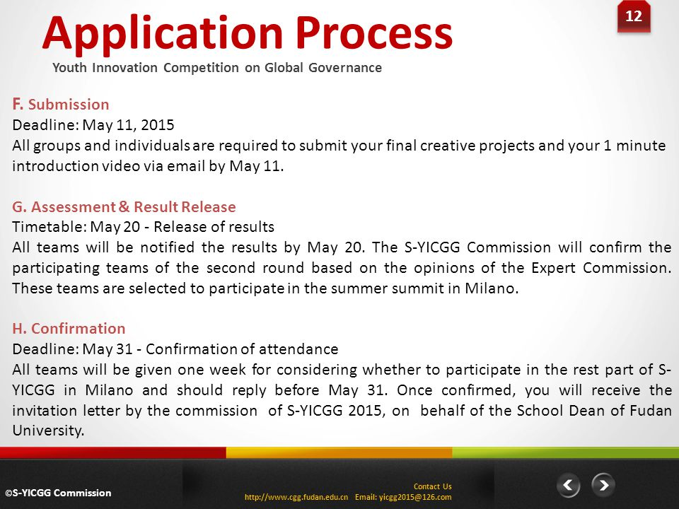 Application Process F. Submission 12 Deadline: May 11, 2015