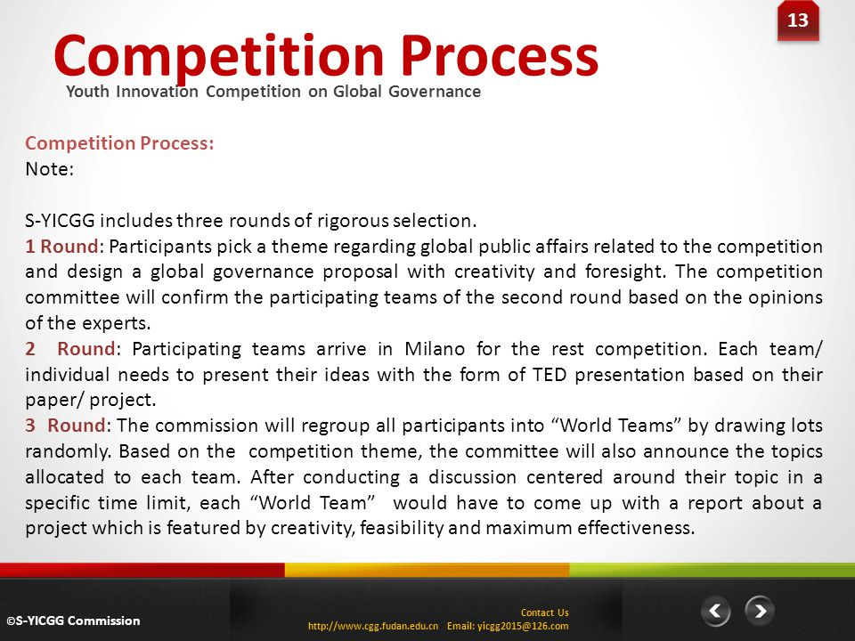 Competition Process 13 Competition Process: Note: