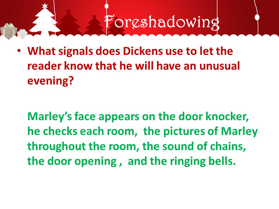 Foreshadowing What signals does Dickens use to let the reader know that he will have an unusual evening