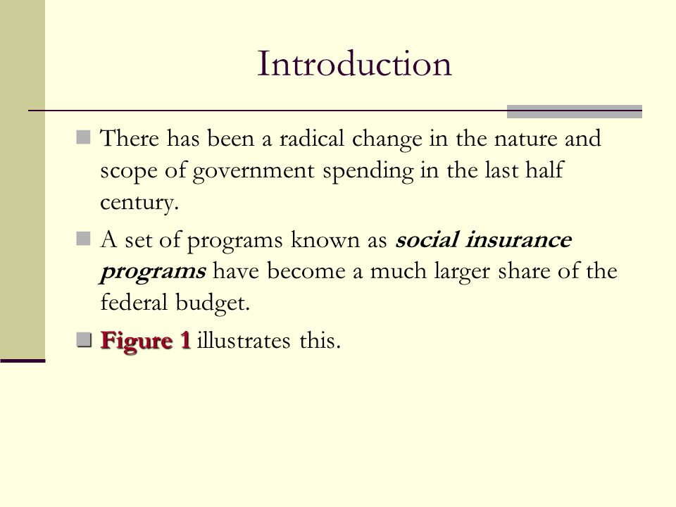 Introduction There has been a radical change in the nature and scope of government spending in the last half century.