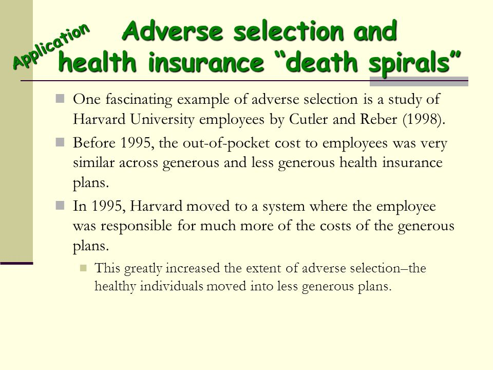 Adverse selection and health insurance death spirals