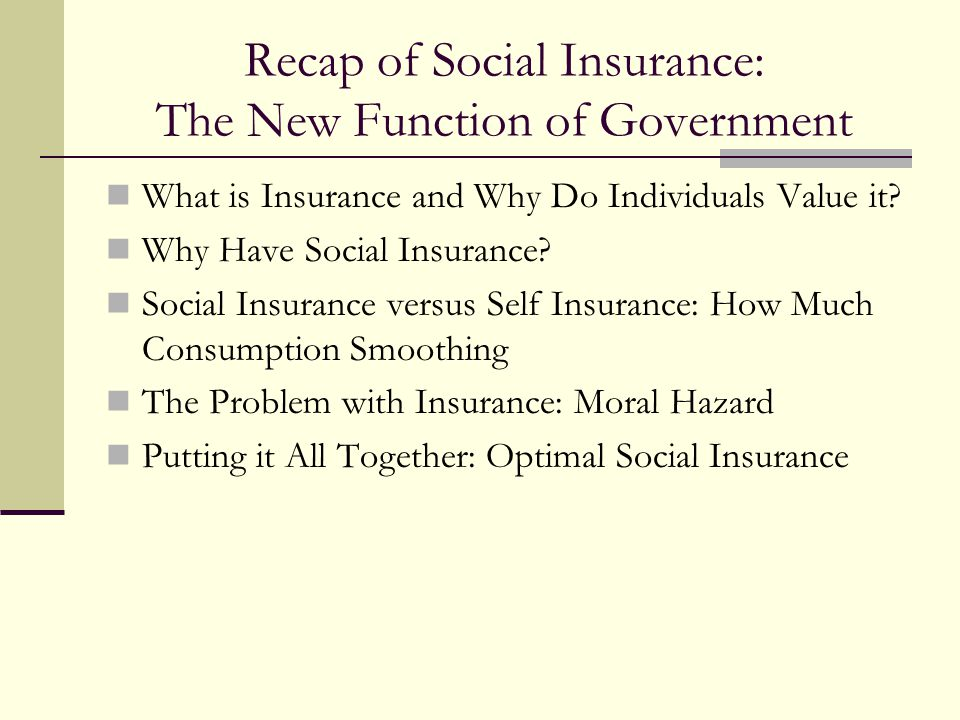 Recap of Social Insurance: The New Function of Government