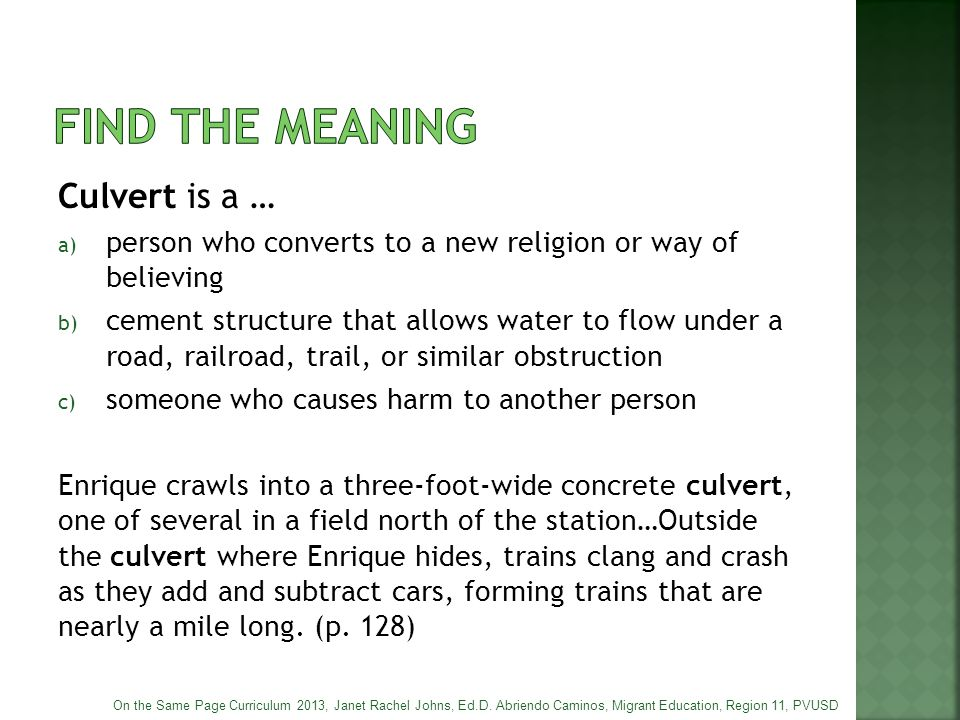 Find the meaning Culvert is a …