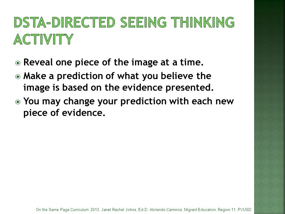 Dsta-directed seeing thinking activity