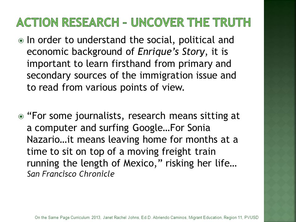 ACTION RESEARCH – uncover the truth