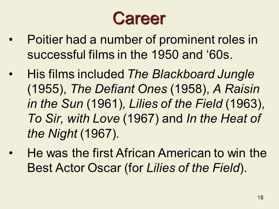 Career Poitier had a number of prominent roles in successful films in the 1950 and '60s.