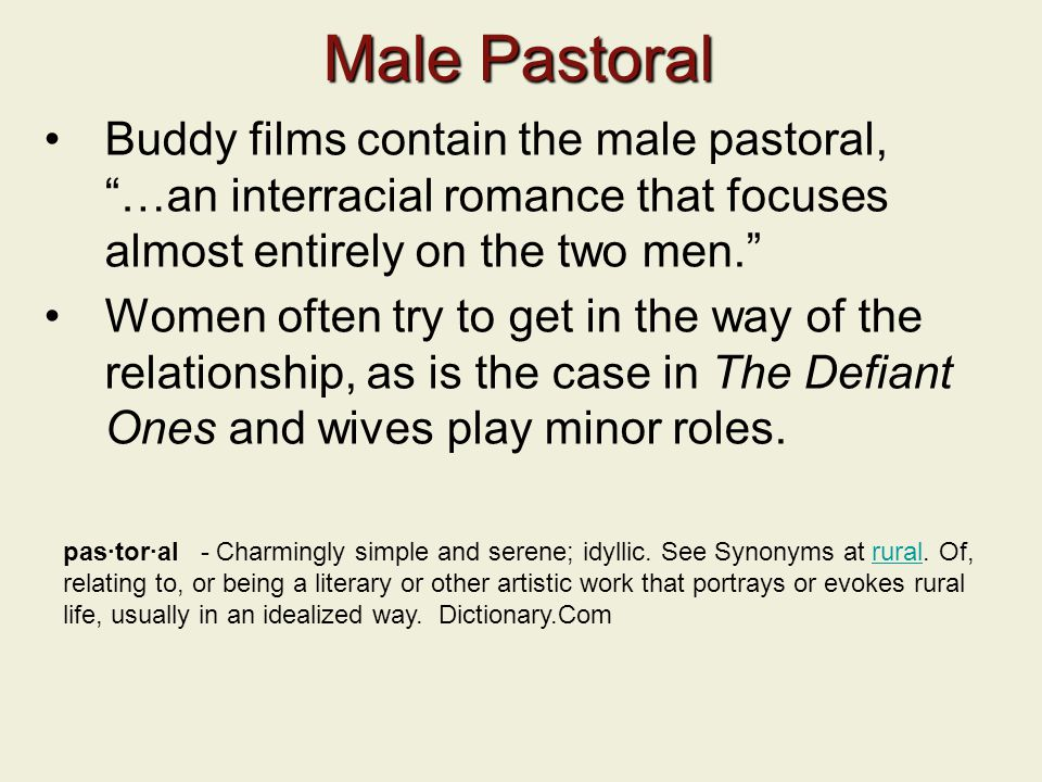 Male Pastoral Buddy films contain the male pastoral, …an interracial romance that focuses almost entirely on the two men.