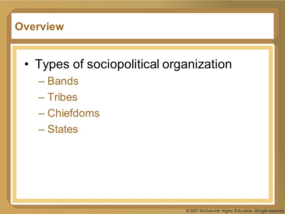 Types of sociopolitical organization