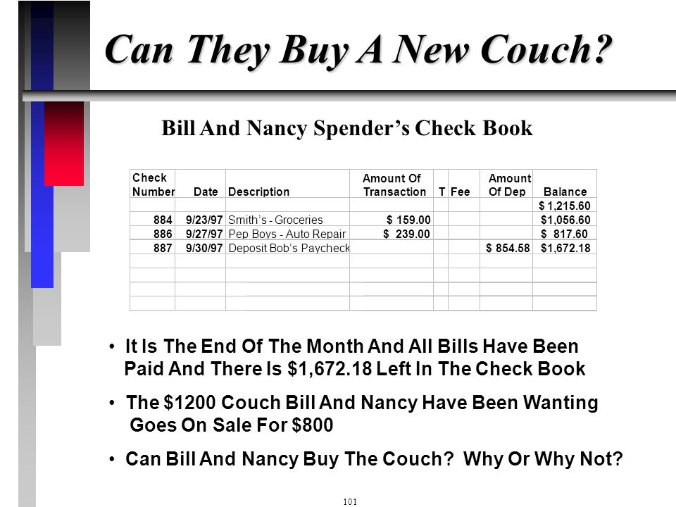 Can They Buy A New Couch Bill And Nancy Spender's Check Book