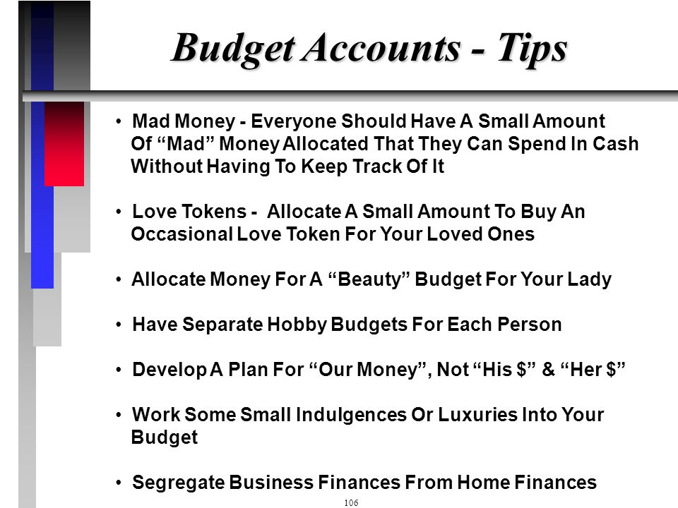 Budget Accounts - Tips