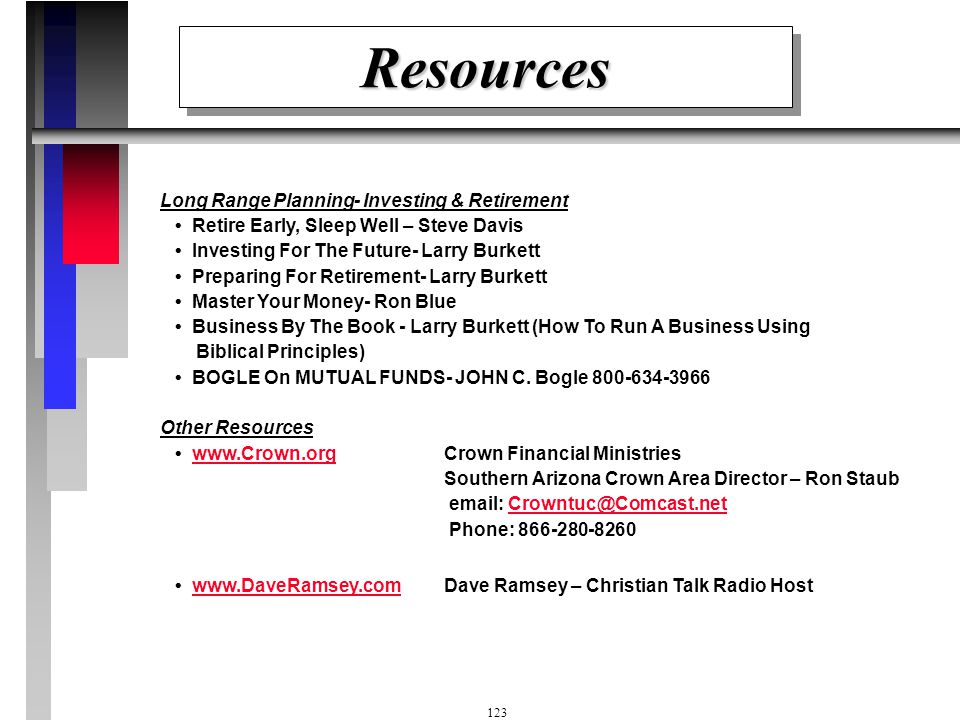 Resources Long Range Planning- Investing & Retirement