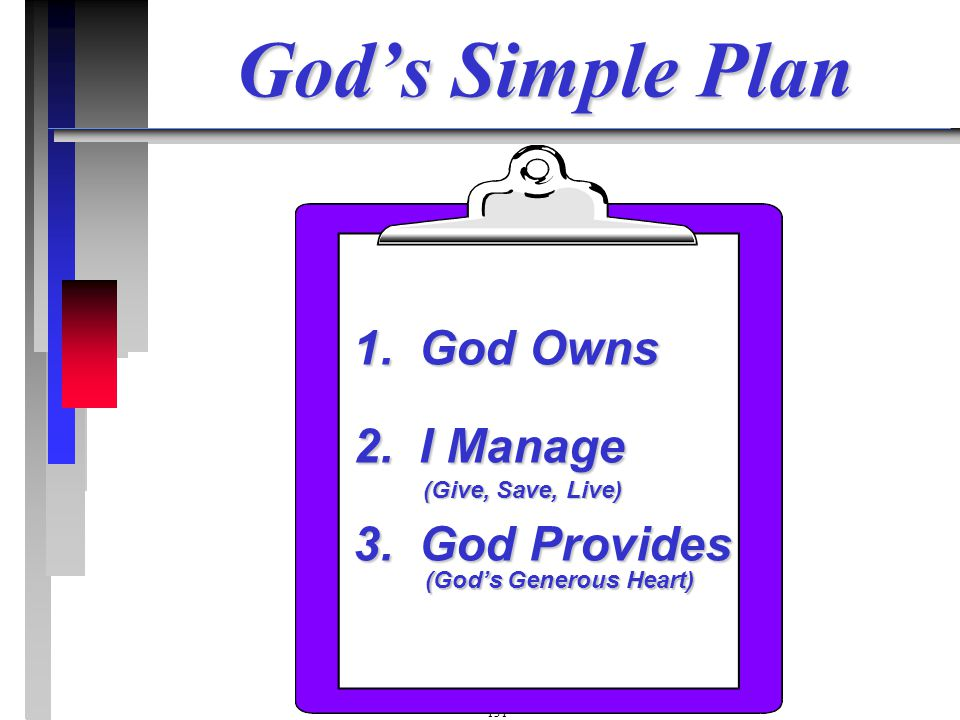 1. God Owns 2. I Manage 3. God Provides