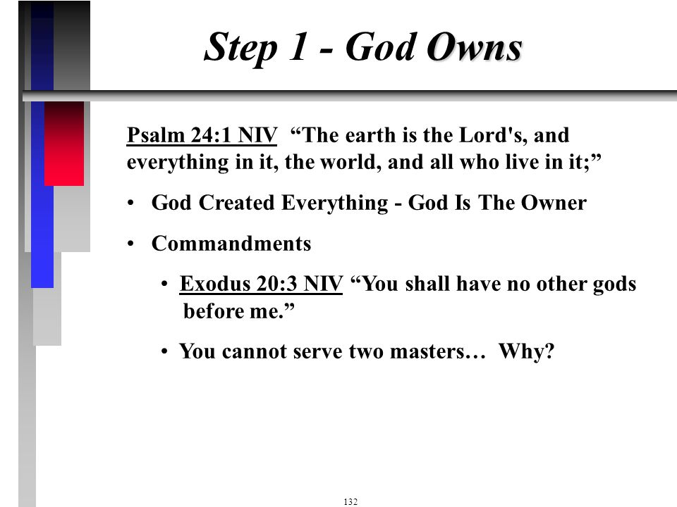Step 1 - God Owns Psalm 24:1 NIV The earth is the Lord s, and everything in it, the world, and all who live in it;