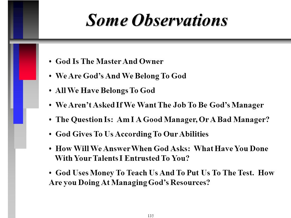 Some Observations God Is The Master And Owner
