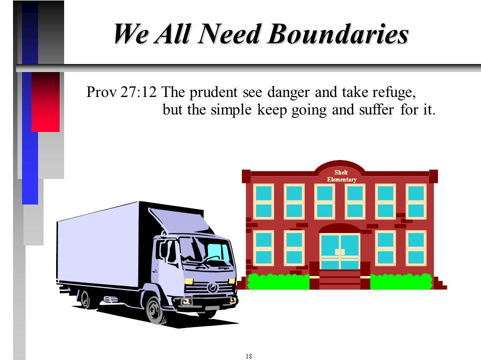 We All Need Boundaries Prov 27:12 The prudent see danger and take refuge, but the simple keep going and suffer for it.