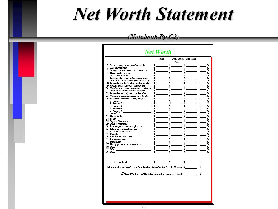 Net Worth Statement (Notebook Pg C2)