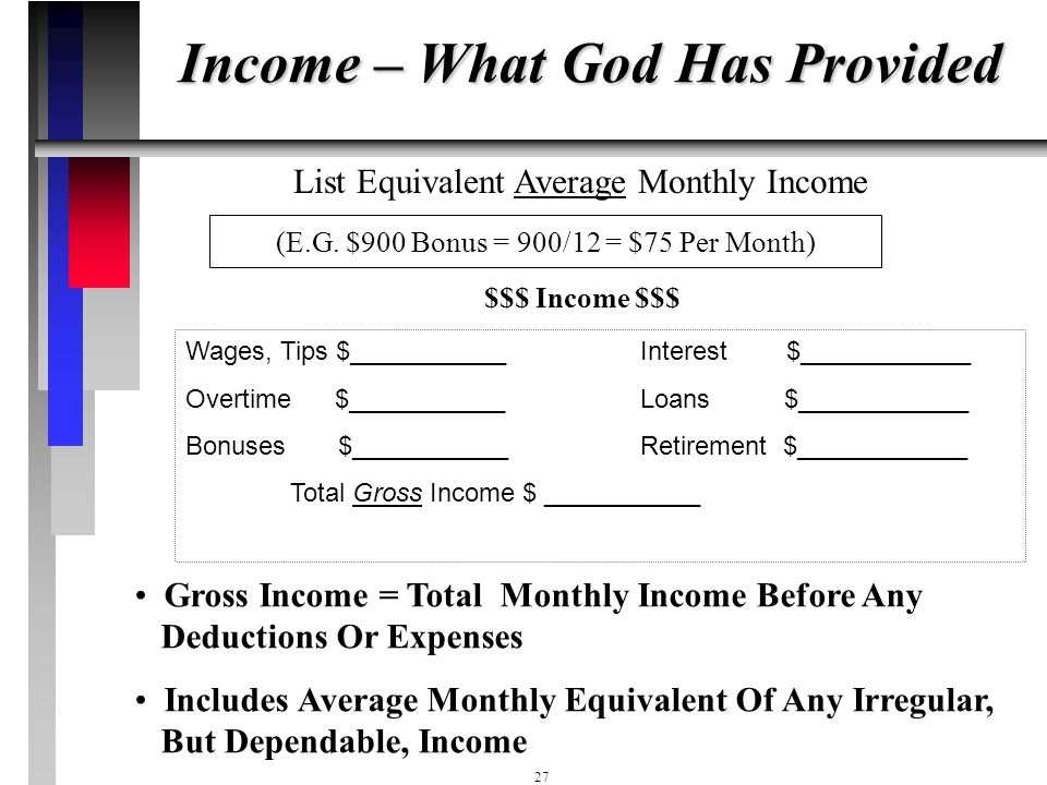 Income – What God Has Provided