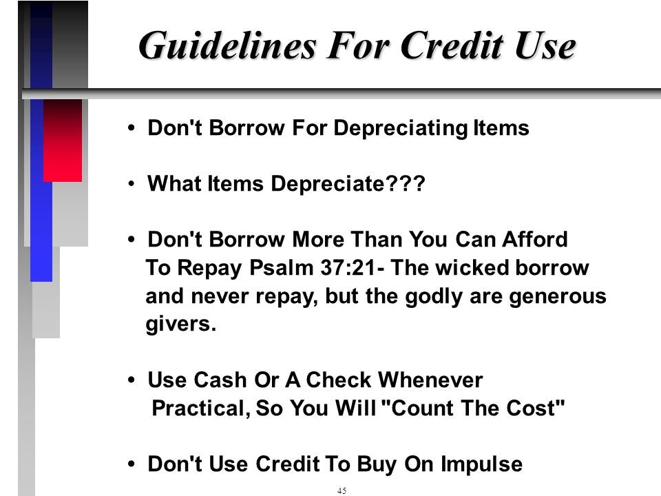 Guidelines For Credit Use