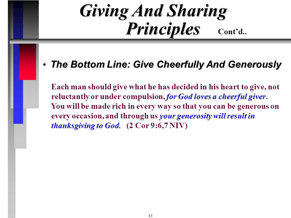 Giving And Sharing Principles Cont'd..