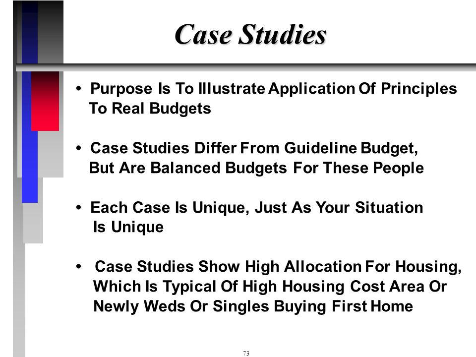 Case Studies • Purpose Is To Illustrate Application Of Principles To Real Budgets.