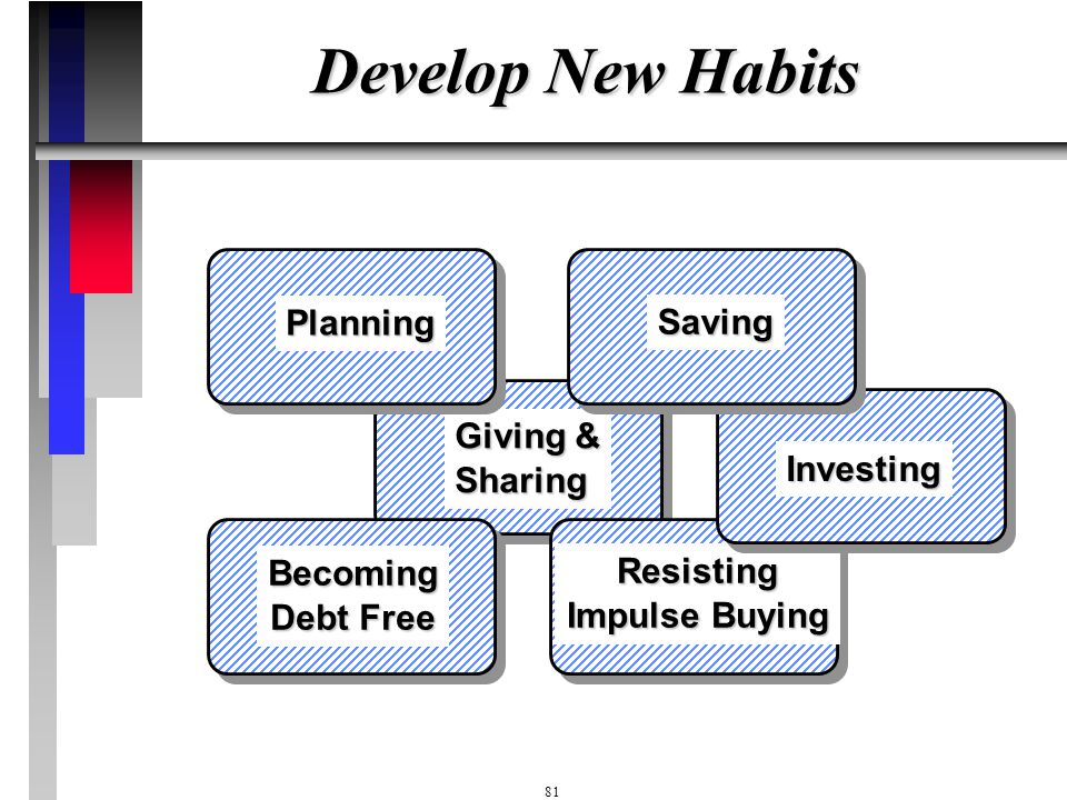 Develop New Habits Planning Saving Giving & Sharing Investing Becoming