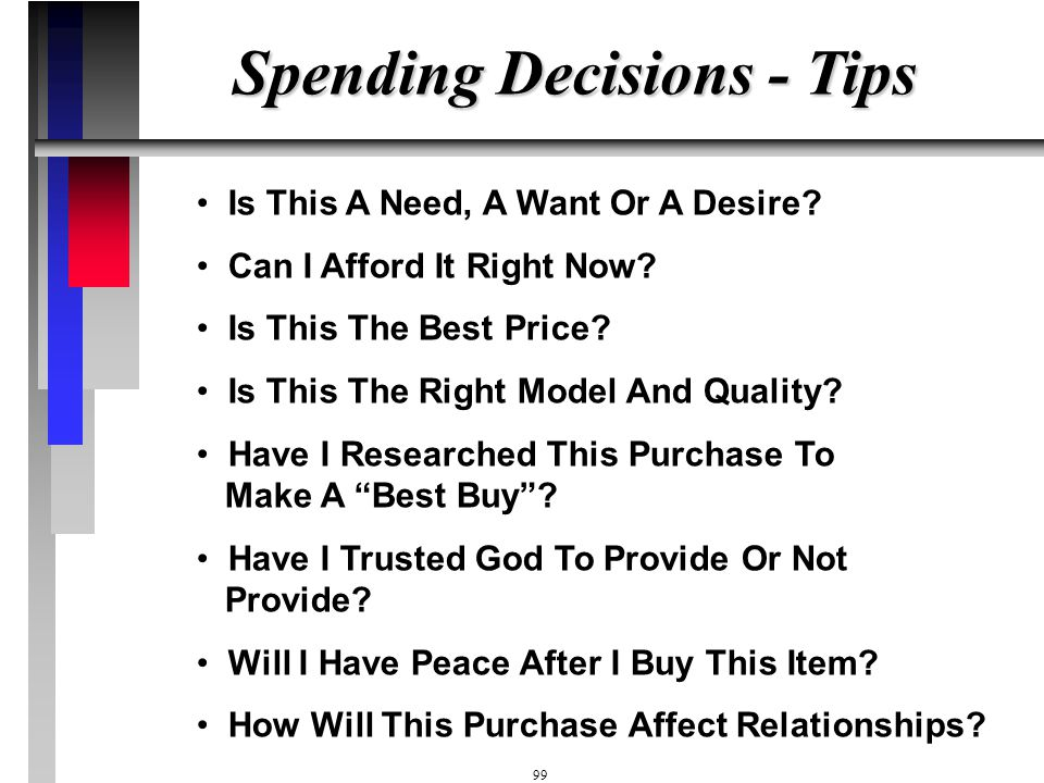 Spending Decisions - Tips