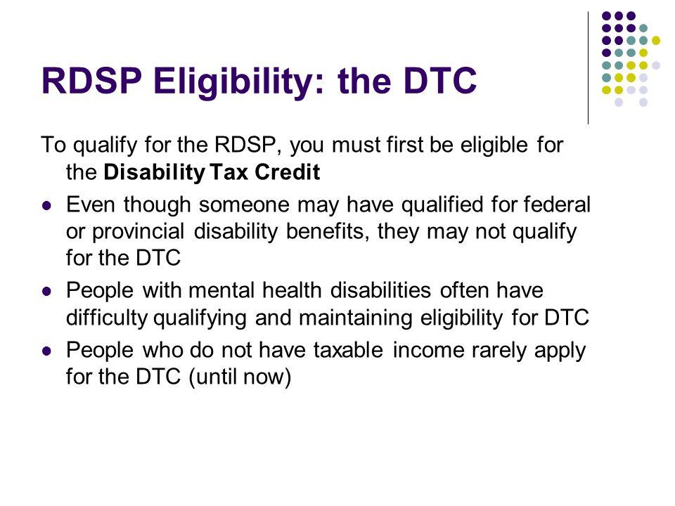 RDSP Eligibility: the DTC