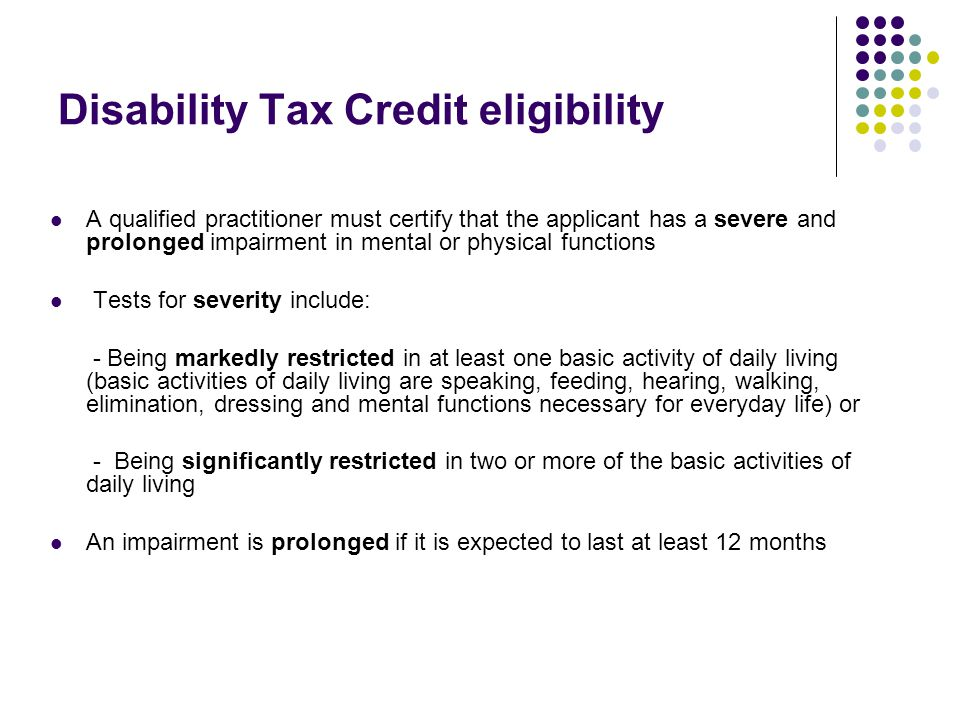 Disability Tax Credit eligibility