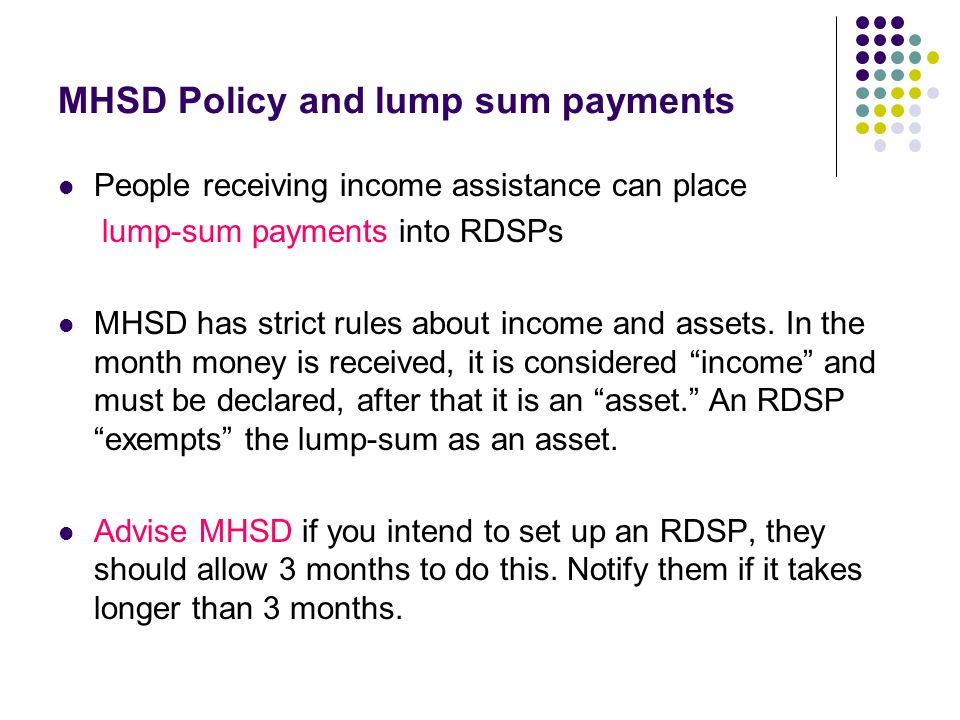 MHSD Policy and lump sum payments