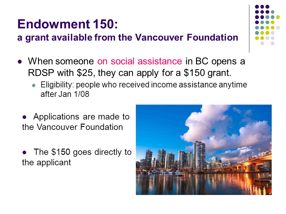 Endowment 150: a grant available from the Vancouver Foundation