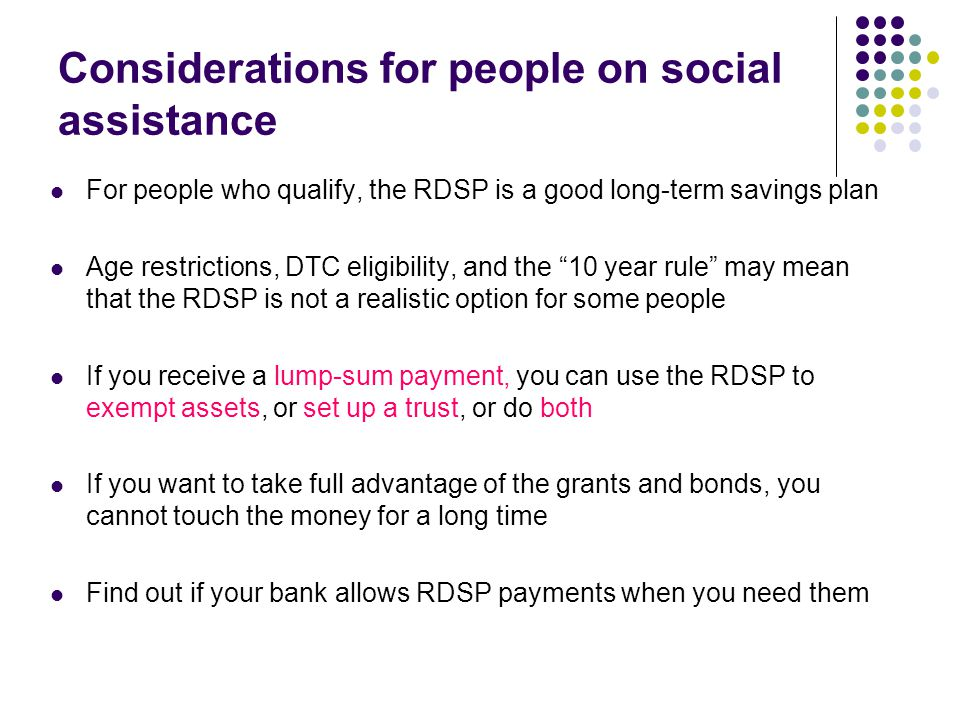 Considerations for people on social assistance