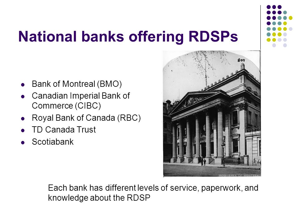National banks offering RDSPs