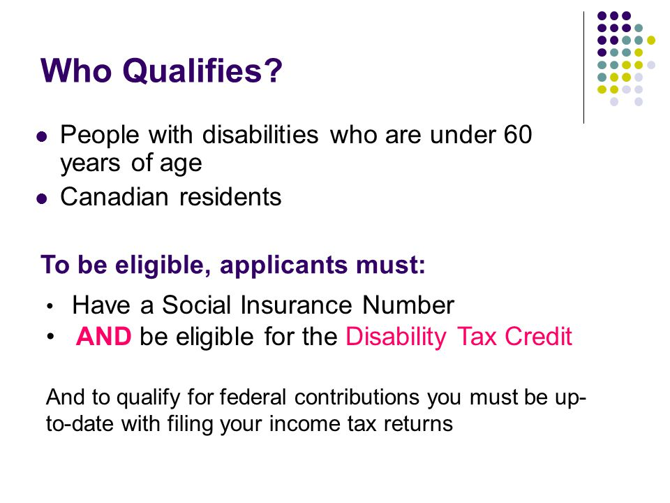 Who Qualifies People with disabilities who are under 60 years of age