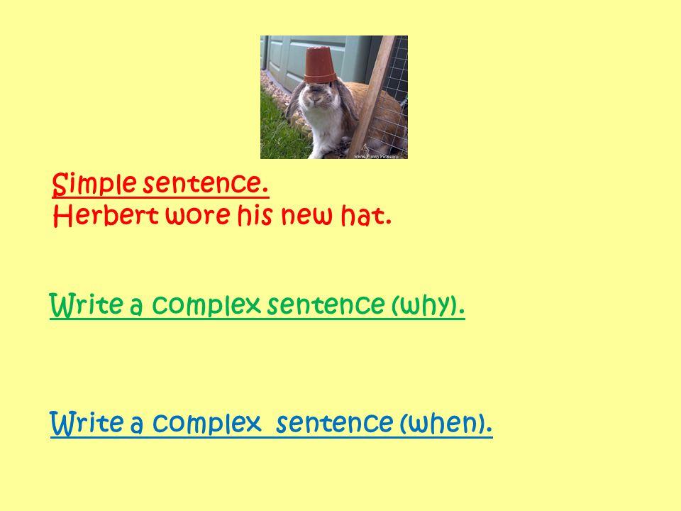 Simple sentence. Herbert wore his new hat.