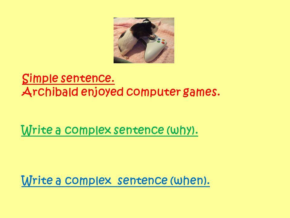 Simple sentence. Archibald enjoyed computer games.